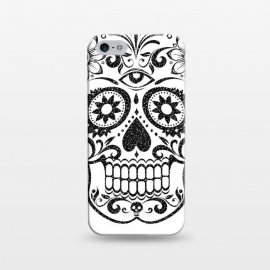 iPhone 5/5E/5s  Day of the Dead floral black glitter sugar skull by Oana