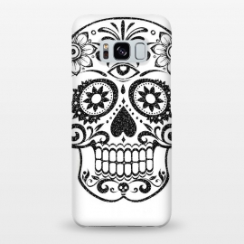 Galaxy S8+  Day of the Dead floral black glitter sugar skull by Oana
