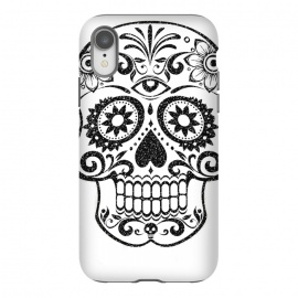 iPhone Xr  Day of the Dead floral black glitter sugar skull by Oana