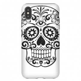 iPhone Xs Max  Day of the Dead floral black glitter sugar skull by Oana