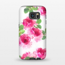 Galaxy S7  Candy Roses by Micklyn Le Feuvre (roses,rose,floral,painted,painting,pink,magenta,white,green,nature,flowers,micklyn,pattern,texture,light,bright,girly,feminine,pretty,fresh,spring,summer)