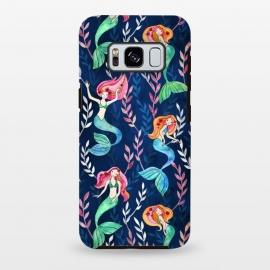 Galaxy S8 plus  Little Merry Mermaids by  (mermaid,mermaids,watercolor,ink,micklyn,illustration,cute,girly,pattern,watercolour,fantasy,trendy,dark blue, navy, indigo,emerald,green,pink,orange,sweet,drawing,painting)
