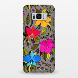 Galaxy S8+  Tropical Floral On Grey  by Tigatiga