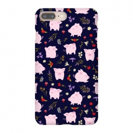 iPhone 8/7 plus  Cute Pigs Dancing Around Floral Motif by