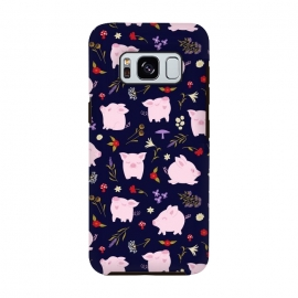 Galaxy S8  Cute Pigs Dancing Around Floral Motif by Portia Monberg