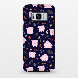 Galaxy S8+  Cute Pigs Dancing Around Floral Motif by Portia Monberg