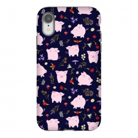 Cute Pigs Dancing Around Floral Motif by Portia Monberg