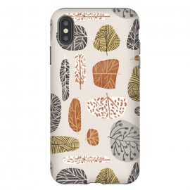 iPhone Xs Max  Tree Stamps by Uma Prabhakar Gokhale (graphic design, pattern, repeating, seamless, leaves, trees, nature, fall, botanical, garden, forest)