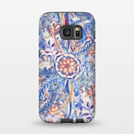 Galaxy S7  Boho Flower Burst in Red and Blue by Micklyn Le Feuvre (boho,bohemian,flower,floral,nature,botanical,leaves,flowers,red,white,blue,cream,off white,painted,painting,patterns,pattern,micklyn,daisy,palm,leaf,doodle)