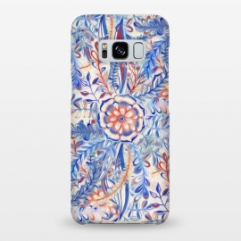 Boho Flower Burst in Red and Blue by Micklyn Le Feuvre (boho,bohemian,flower,floral,nature,botanical,leaves,flowers,red,white,blue,cream,off white,painted,painting,patterns,pattern,micklyn,daisy,palm,leaf,doodle)