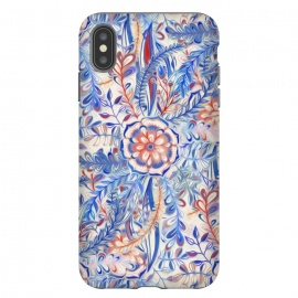 iPhone Xs Max  Boho Flower Burst in Red and Blue by Micklyn Le Feuvre