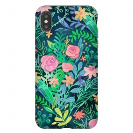 iPhone Xs Max  Bright Floral Posie on Dark Green by