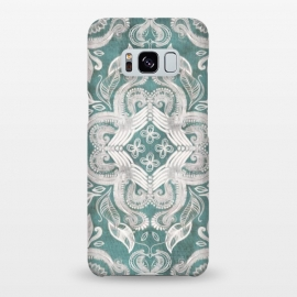 Galaxy S8+  Dirty Denim Boho Pattern in Teal and Grey by Micklyn Le Feuvre
