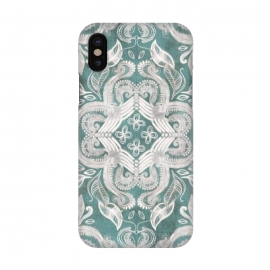 iPhone X  Dirty Denim Boho Pattern in Teal and Grey by Micklyn Le Feuvre