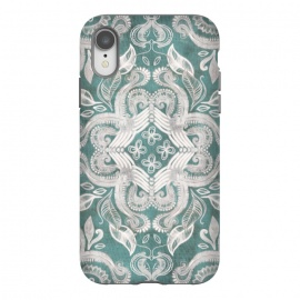 iPhone Xr  Dirty Denim Boho Pattern in Teal and Grey by Micklyn Le Feuvre
