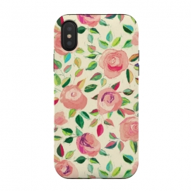 Pink and Peach Rose Pattern in Pastels by Micklyn Le Feuvre (rose,roses,floral,flowers,lime green,peach,melon,pink,micklyn,pattern,texture,pastel,pastels,color,colors,girly,summer,spring,leaf,leaves,nature,botanical,cute,trendy,cream,emerald,dusty,dusky)