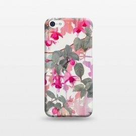 iPhone 5C  Painted Fuchsia Floral in Pink and Grey  by Micklyn Le Feuvre