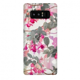 Galaxy Note 8  Painted Fuchsia Floral in Pink and Grey  by Micklyn Le Feuvre
