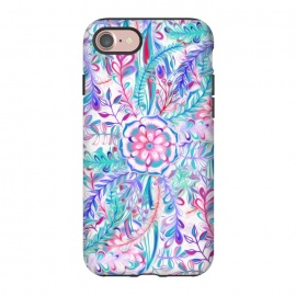 iPhone 8/7  Boho Flower Burst in Pink and Blue by Micklyn Le Feuvre