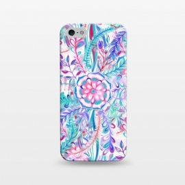 iPhone 5/5E/5s  Boho Flower Burst in Pink and Blue by Micklyn Le Feuvre