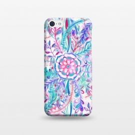 iPhone 5C  Boho Flower Burst in Pink and Blue by Micklyn Le Feuvre