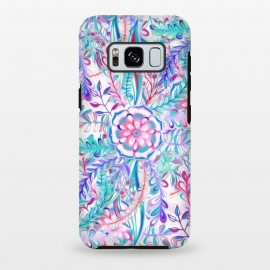 Galaxy S8 plus  Boho Flower Burst in Pink and Blue by  (pink, teal, aqua,purple,boho,bohemian,floral,flower,leaves,leaf,nature,botanical,mandala,girly,bright,colorful,pink and blue,blue,painted,painting,trendy,cute)