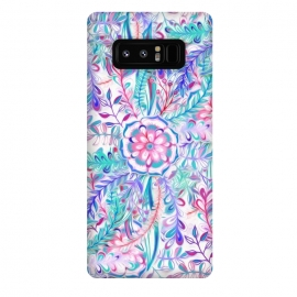 Galaxy Note 8  Boho Flower Burst in Pink and Blue by Micklyn Le Feuvre (pink, teal, aqua,purple,boho,bohemian,floral,flower,leaves,leaf,nature,botanical,mandala,girly,bright,colorful,pink and blue,blue,painted,painting,trendy,cute)