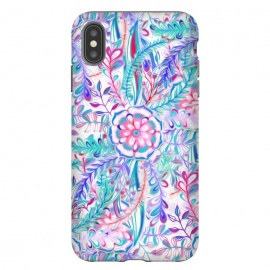 iPhone Xs Max  Boho Flower Burst in Pink and Blue by Micklyn Le Feuvre