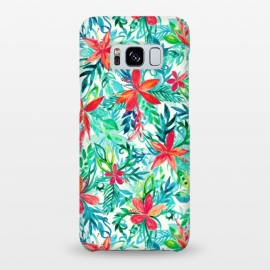 Tropical Jungle Watercolor Floral by Micklyn Le Feuvre (floral,flower,flowers,watercolor,watercolour,pattern,tropical,jungle,orchid,palm,leaf,leafy,leaves,micklyn,pretty,bright,colorful,girly,fresh,summer,beach,island,teal,aqua,orange,red,pink)