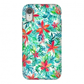 iPhone Xr  Tropical Jungle Watercolor Floral by Micklyn Le Feuvre (floral,flower,flowers,watercolor,watercolour,pattern,tropical,jungle,orchid,palm,leaf,leafy,leaves,micklyn,pretty,bright,colorful,girly,fresh,summer,beach,island,teal,aqua,orange,red,pink)