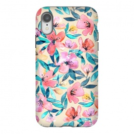 iPhone Xr  Fresh Watercolor Floral on Cream  by Micklyn Le Feuvre (watercolor,watercolour,floral,flower,flowers,painted,hand painted,fresh,spring,summer,peach,cream,jade,emerald,mauve,blush,pink,micklyn,pattern,bright,girly,sweet,soft,colorful,petals,blossoms,blossom)