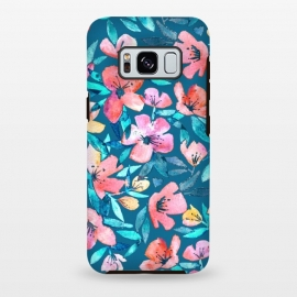Galaxy S8 plus  Fresh Watercolor Floral on Teal Blue by