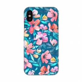 iPhone X  Fresh Watercolor Floral on Teal Blue by Micklyn Le Feuvre