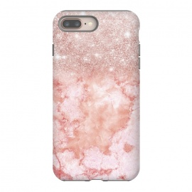 iPhone 8/7 plus  Glitter on Blush Agate by Utart ( Ombre, Girly, Marble, Marbled, Nature, Texture, Geode, Terrazzo, Metallic, Scandi, Bohemian, Boho, Scandinavian ,stone, crystal, quartz, gemstone, gem, granite, shimmer, shimmery, shiny ,metallic,trendy girly, simply, simple, glitter, chrystal, ink ,malachite, agate, metal, foil ,summer, spring,gla)