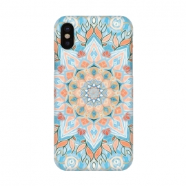 iPhone X  Peach and Blue Pastel Mandala by  (boho,bohemian,mandala,pastel,colors,colours,light blue,peach,pale, orange,texture,painted,medallion,doodle,melon,girly,cute,gypsy,micklyn,summer,white)