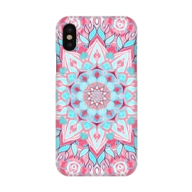 iPhone X  Bright Boho Aqua and Pink Mandala by Micklyn Le Feuvre