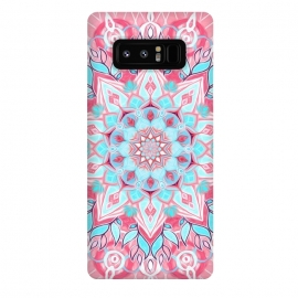 Galaxy Note 8  Bright Boho Aqua and Pink Mandala by Micklyn Le Feuvre