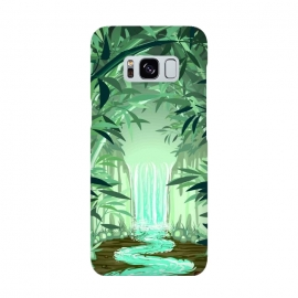 Fluorescent Waterfall on Surreal Bamboo Forest  by BluedarkArt