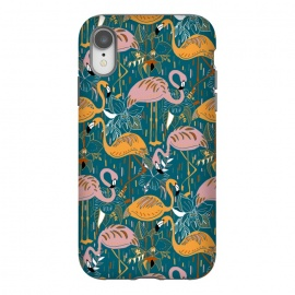 iPhone Xr  Flamingos On Blue  by Tigatiga