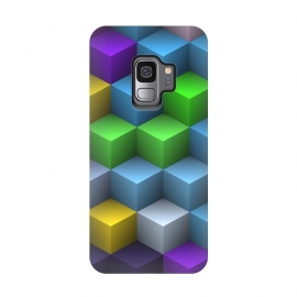 Galaxy S9  3D Colorful Squares Pattern by Art Design Works