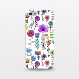 iPhone 5/5E/5s  Bright Watercolor and Line Art Flowers by Noonday Design