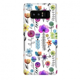 Galaxy Note 8  Bright Watercolor and Line Art Flowers by Noonday Design