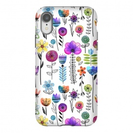 iPhone Xr  Bright Watercolor and Line Art Flowers by Noonday Design