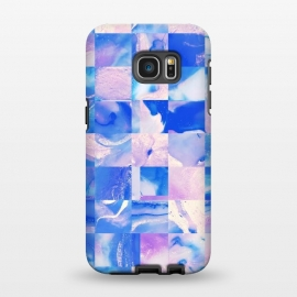 Galaxy S7 EDGE  Pink and Blue Tiles by Ashley Camille (square, squares, tiles, tile, tiled, lines, grid, check, checks, digital, checker, checkers, pattern, plaid, abstract,pink,blue)
