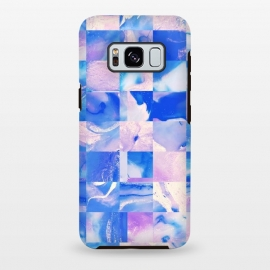 Galaxy S8+  Pink and Blue Tiles by Ashley Camille (square, squares, tiles, tile, tiled, lines, grid, check, checks, digital, checker, checkers, pattern, plaid, abstract,pink,blue)
