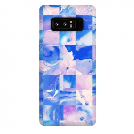 Galaxy Note 8  Pink and Blue Tiles by Ashley Camille (square, squares, tiles, tile, tiled, lines, grid, check, checks, digital, checker, checkers, pattern, plaid, abstract,pink,blue)