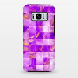 Galaxy S8+  Pink and Gold Tiles by Ashley Camille (square, squares, tiles, tile, tiled, lines, grid, check, checks, digital, checker, checkers, pattern, plaid, abstract, texture,pink)
