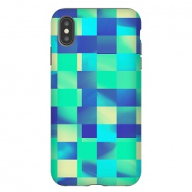 iPhone Xs Max  Green and Blue Tiles by  (square, squares, tiles, tile, tiled, lines, grid, check, checks, digital, checker, checkers, pattern, plaid, abstract, texture,green,blue)