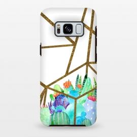 Galaxy S8 plus  Cactus Earth Terrarium  by  (cactus,plants,nature,green,succulent ,plant,terrarium,geometric,gold)
