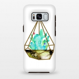 Galaxy S8 plus  Gold Cactus Terrarium  by  (cactus,nature,plants,succulent,greenery,green,watercolor)